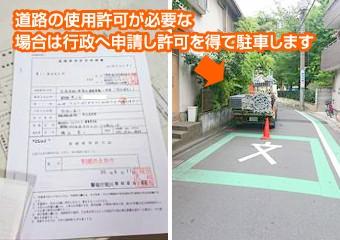 道路の使用許可が必要な場合は行政へ申請します