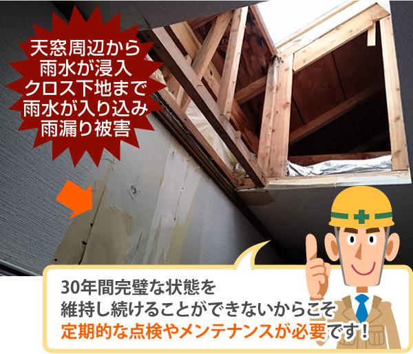 クロス下地まで雨漏り被害の原因となった天窓
