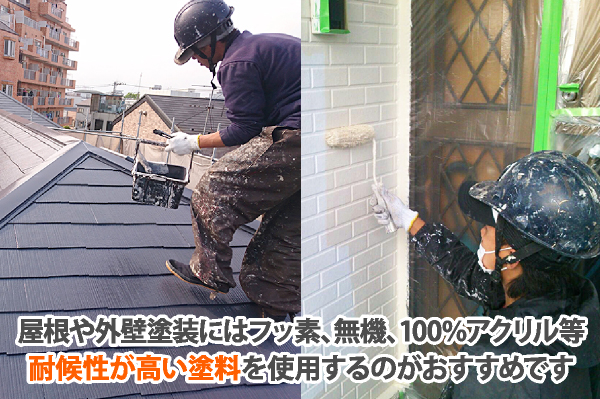 屋根や外壁塗装には耐候性が高い塗料