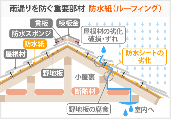 雨漏りを防ぐ重要部材防水紙(ルーフィング)