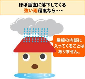 ほぼ垂直に落下してくる雨なら屋根の内部に入ってくることはありません