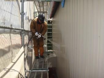 三重県伊賀市 工場2階外壁トタン高圧洗浄