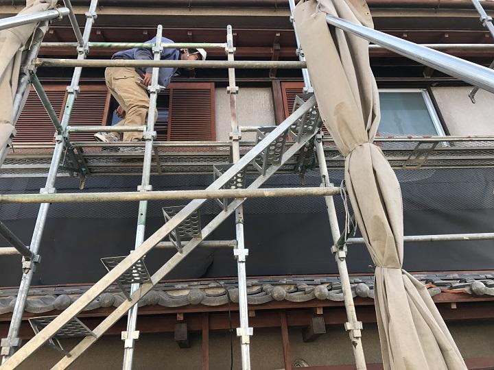 名張市 モルタル壁修理 二階