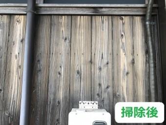 伊賀市 杉板外壁のカビ 掃除後