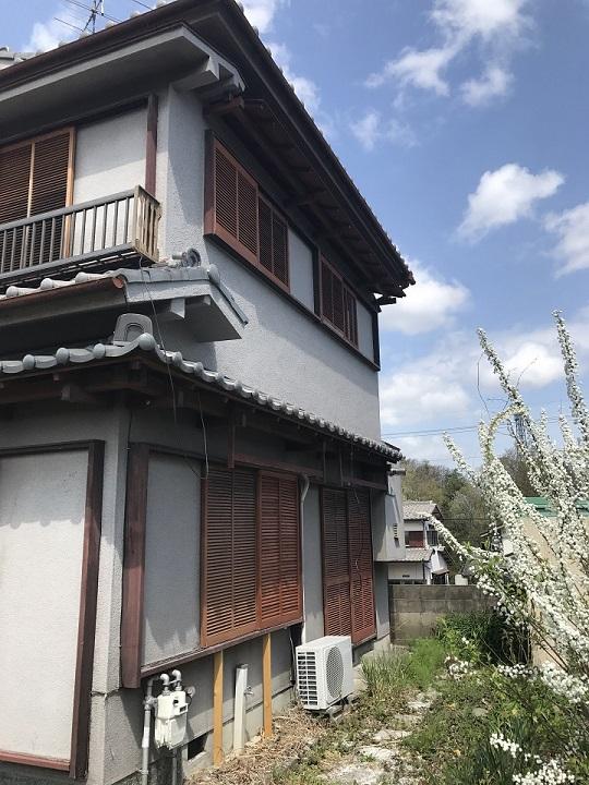 名張市 モルタル壁 復旧後全体写真