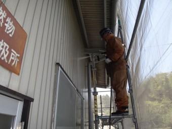 三重県伊賀市 工場1階外壁トタン高圧洗浄