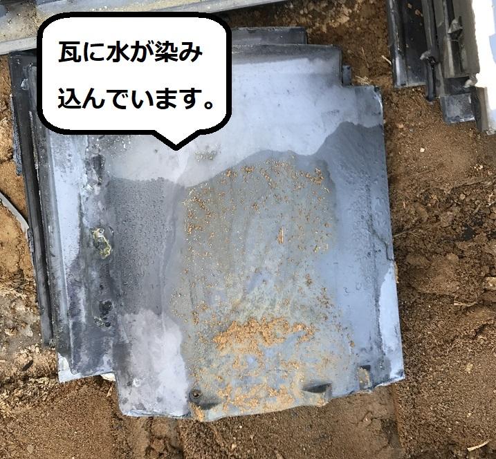 伊賀市 日本瓦に雨水が染み込んでいる写真