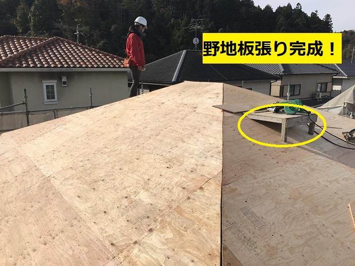 伊賀市 野地板張り完成後の写真