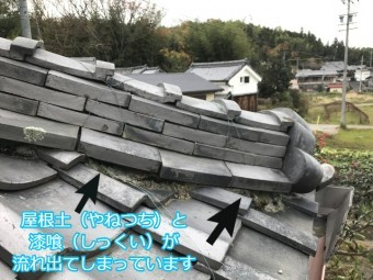 伊賀市 のし瓦のズレ 流れ出す土