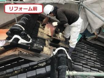 伊賀市 陶器瓦を和形から平板形に葺き替え
