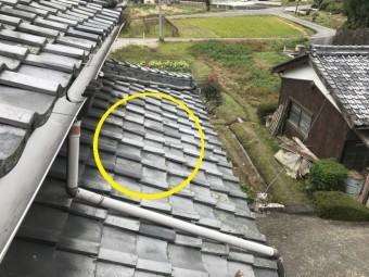 伊賀市 平瓦のズレ 築80年