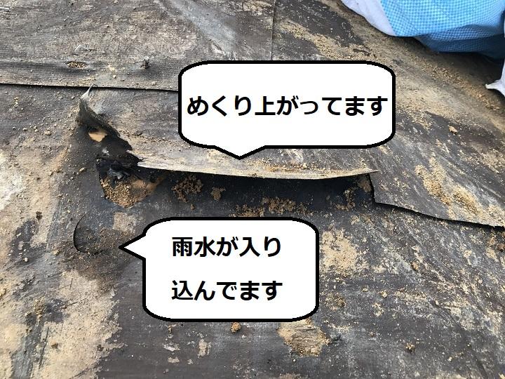 伊賀市 ルーフィング損傷状態の説明写真