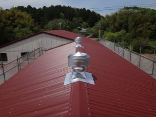 伊賀市 工場屋根上換気扇取付