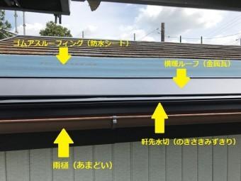 名張市 横暖シート葺き状況(横からの写真)