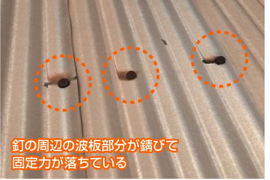 釘の周辺の波板部分が錆びて固定力が落ちている